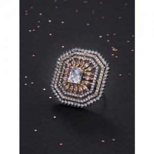 Rubans Gold-Toned CZ-Studded Handcrafted Adjustable Ring