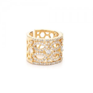 Rubans Women Gold-Plated CZ Ruby Handcrafted Studded Ring