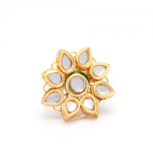 Rubans Gold Plated Kundan Studded Ring