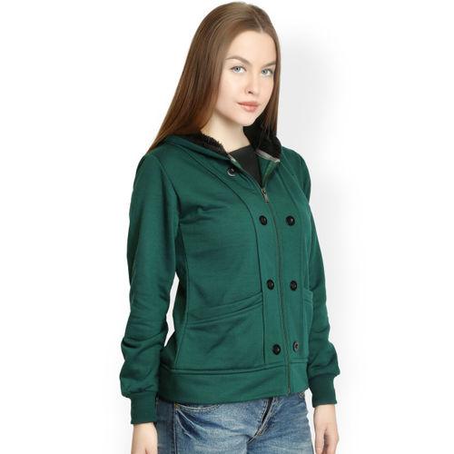 Belle Fille Women Green Hooded Sweatshirt