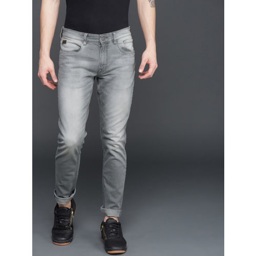 WROGN Men Grey Slim Fit Mid-Rise Clean Look Stretchable Jeans