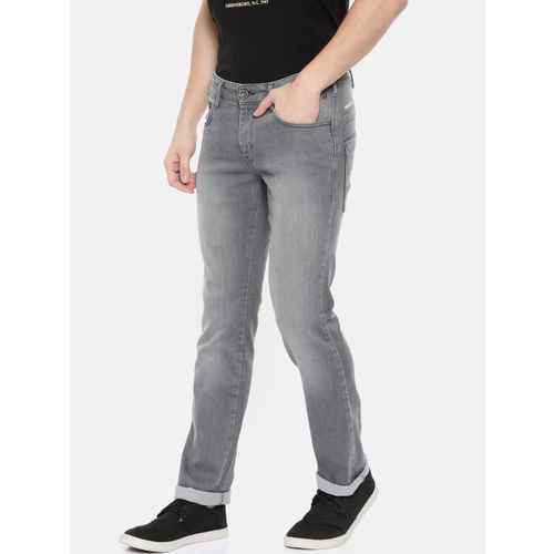 Wrangler Men Grey Skanders Slim Fit Low-Rise Clean Look Stretchable Jeans