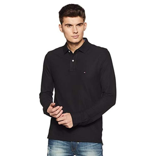 Tommy Hilfiger Black Cotton Slim Fit Casual Polo T-Shirts