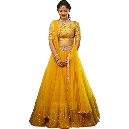 Stylevilla Collection Yellow Embroidered Semi Stitched Lehenga Choli