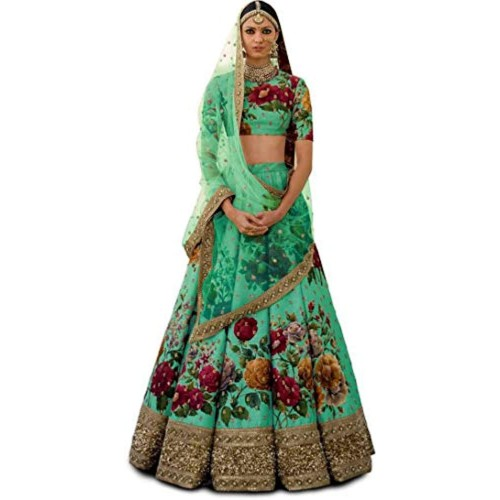 Stylevilla Collection Green Silk Embroidered Semi Stitched Lehenga Choli