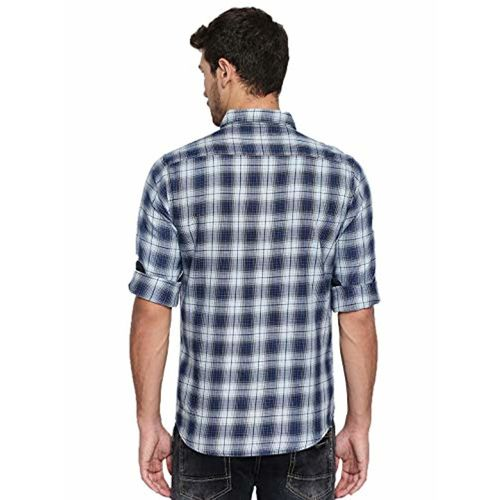 Dennis Lingo Men's Checkered White Slim Fit Casual Shirt