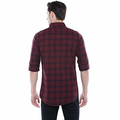 Dennis Lingo Maroon Checkered Slim Fit Casual Shirt