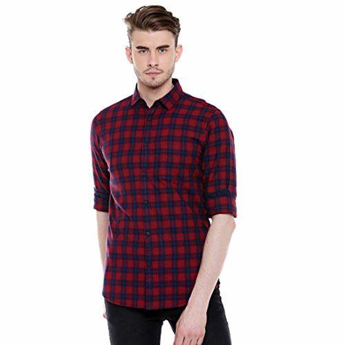 Dennis Lingo Men's Checkered Red Slim Fit Casual Shirt