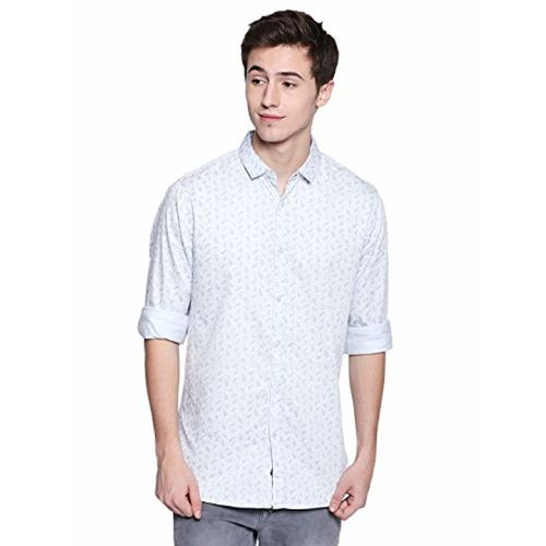 Dennis Lingo Men's Printed Sky Blue Slim Fit Casual Shirt