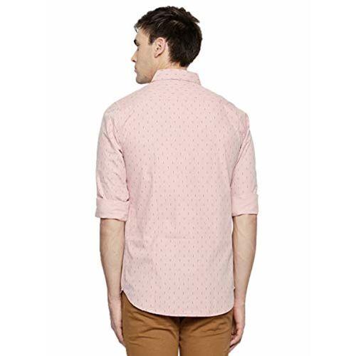 Dennis Lingo Men's Printed Pink Slim Fit Casual Shirt