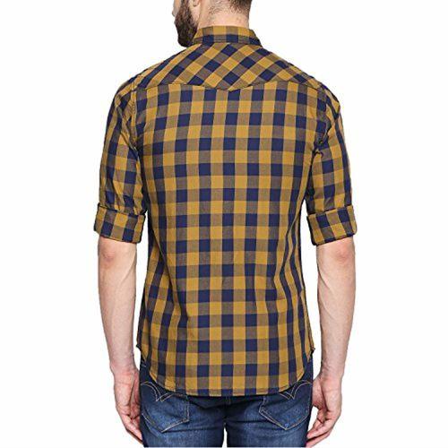 Dennis Lingo Men's Checkered Mustard Slim Fit Casual Shirt