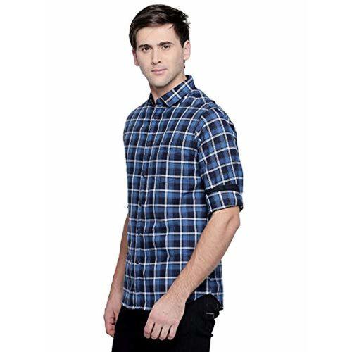 Dennis Lingo Men's Checkered Blue Slim Fit Casual Shirt