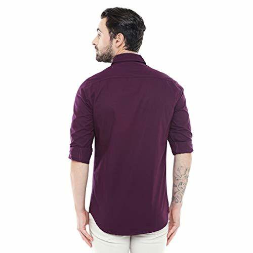 Dennis Lingo Men's Cotton Purple Solid Casual Shirt