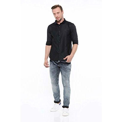 SHOWOFF Mens Black Printed Casual Shirts