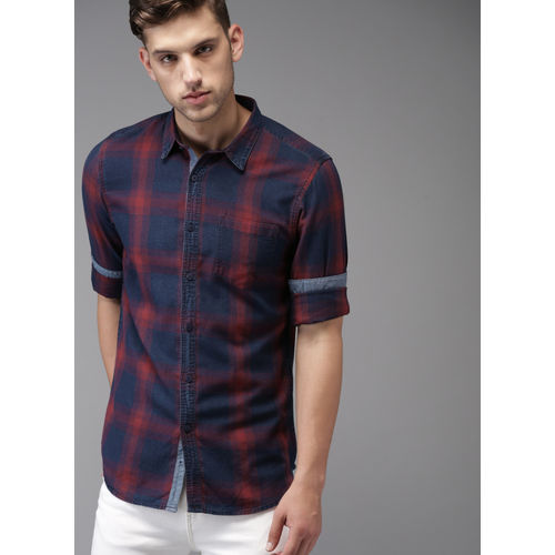 Moda Rapido Blue & Red Regular Fit Checked Casual Shirt