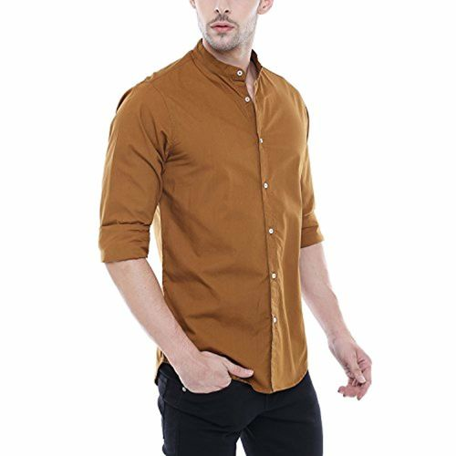 Dennis Lingo Men's Solid Chinese Collar Brown Casual Shirt
