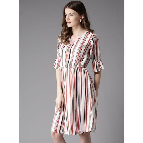 Moda Rapido Women White & Red Striped Fit & Flare Dress