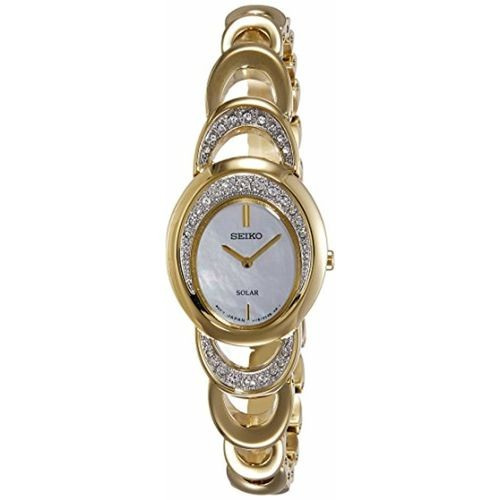 Seiko Solar Analog Mother of Pearl Dial Women's Watch-SUP298P1