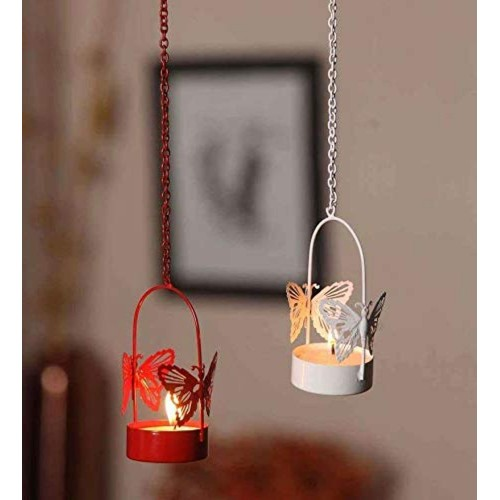 Satya Vipal Decorative Hanging Butterfly Tealight Candle Holder Set of 2