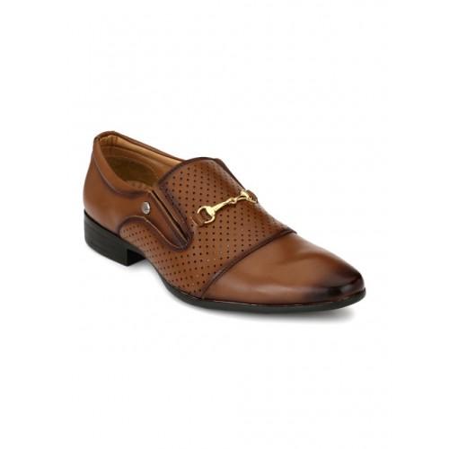 El Paso Men Brown Formal Slip-On Shoes