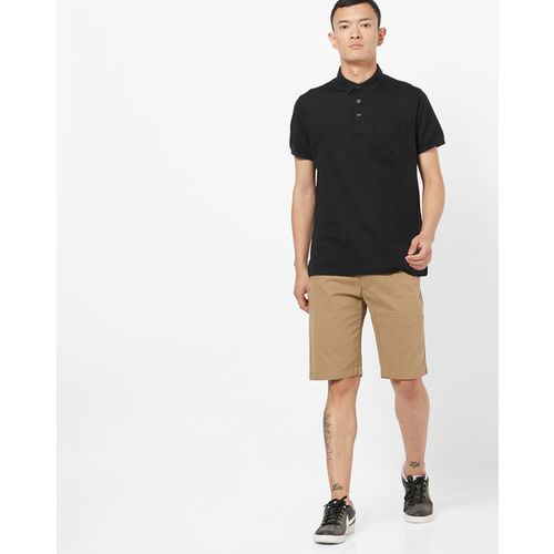 INDIAN TERRAIN Slim Fit Striped Polo T-shirt with Patch Pocket