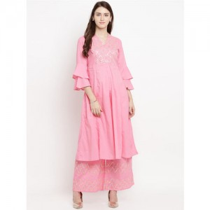 Bhama Couture Women Pink Solid Kurti with Palazzos
