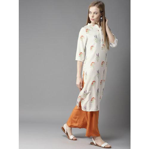 HERE&NOW Women Off-White & Orange Printed Straight Kurta