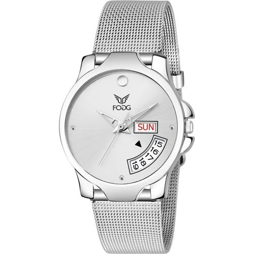 Fogg 4057 -SL Silver Day & Date Watch - For Women