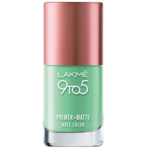 Lakmé Lakme 9 to 5 Primer and Matte Nail Color, Green, 9ml