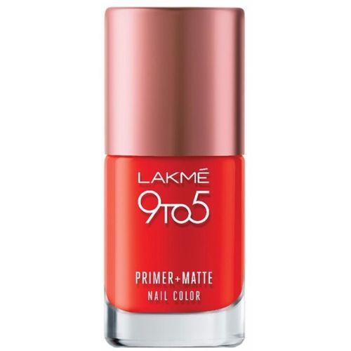 Lakme 9 to 5 Primer Plus Matte Nail Color Crimson