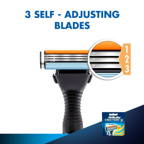 Gillette Vector 3 Manual Shaving Razor Blades (Cartridge) 4s pack (Save Rs.30)