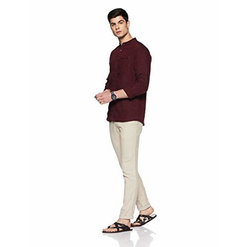 Celio Men's Solid Regular Fit Linen Casual Shirt