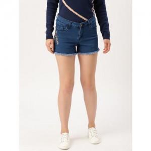 DressBerry Women Blue Solid Regular Fit Embroidered Denim Shorts