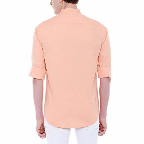 Dennis Lingo Men's Solid Chinese Collar Peach Casual Shirt