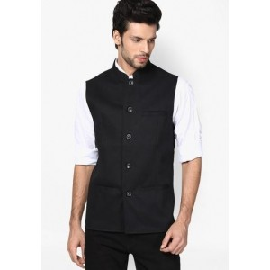 Even Solid Black Ethnic Jacket