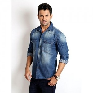 Rodid Men's Solid Casual Denim Shirt