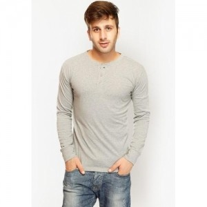 Gritstones Grey Solid Cotton Henley T Shirt
