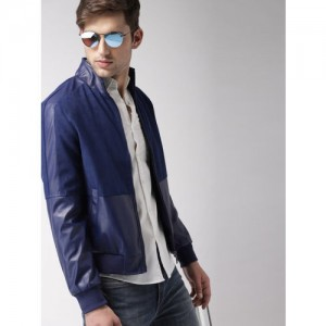 Harvard Men Navy Blue Solid Bomber Jacket