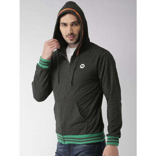Harvard Men Charcoal Grey Solid Hooded Sweatshirt
