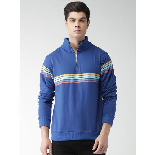 Harvard Men Blue Striped Sweatshirt