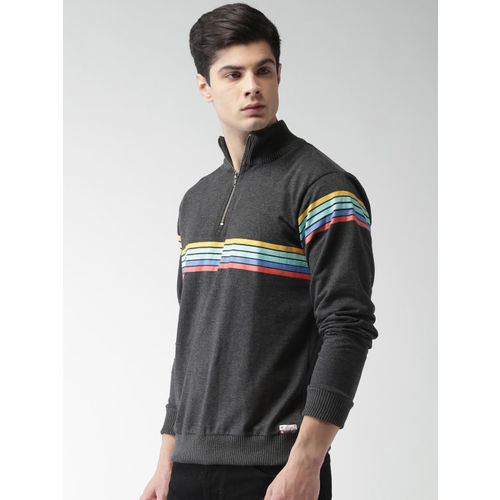 Harvard Men Charcoal Grey Polyester Striped Sweatshirt