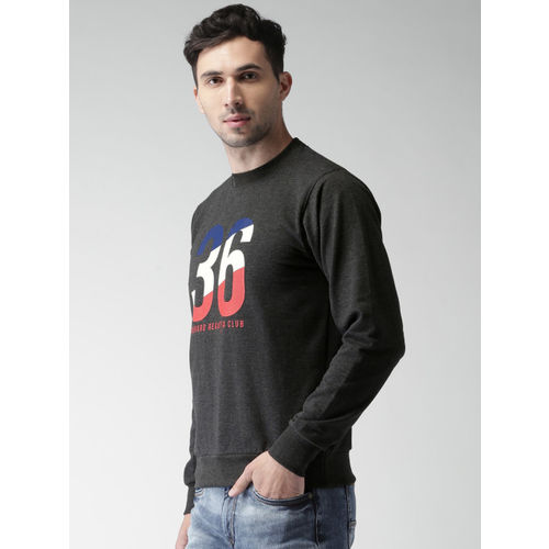Harvard Men Charcoal Grey Polyester Printed Sweatshirt