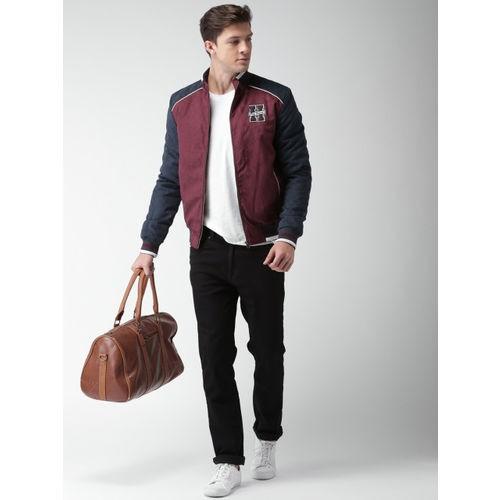 Harvard Men Maroon & Navy Solid Polyester Varsity Jacket
