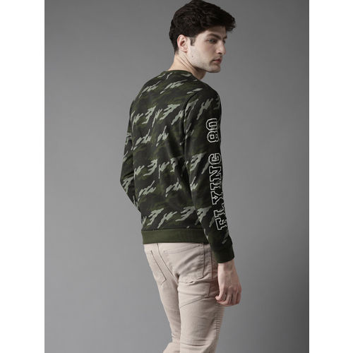 Flying Machine Men Olive Green & Black Camouflage Print Sweatshirt