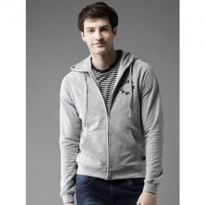Flying Machine Men Grey Melange Solid Hooded Sweatshirt