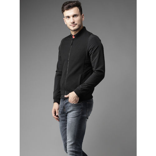 Flying Machine Men Black Solid Bomber Jacket