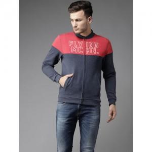 Flying Machine Men Charcoal Grey & Coral Red Colourblocked Sweatshirt