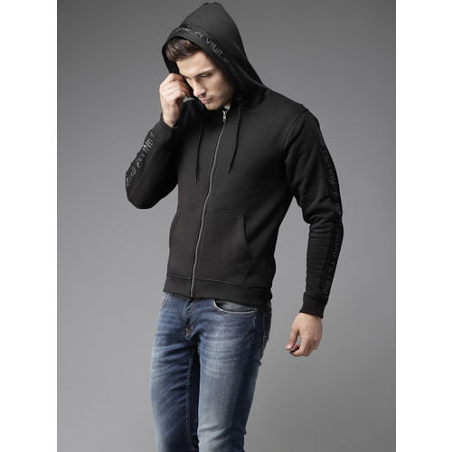 Flying Machine Men Black Solid Hooded Sweatshirt