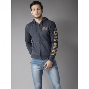 Flying Machine Men Navy Blue Polyester Solid Hooded Sweatshirt