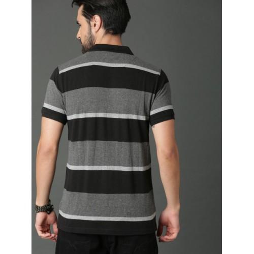 Roadster Black Cotton Striped Polo Collar T-shirt